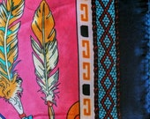 Satin Scarf Feather Pattern Tribal Scarf Bandanna Square 35 quot x 35 quot