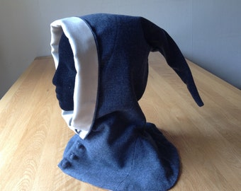 Medieval hood, Ladies buttoned hood, reenactment, hand sewn
