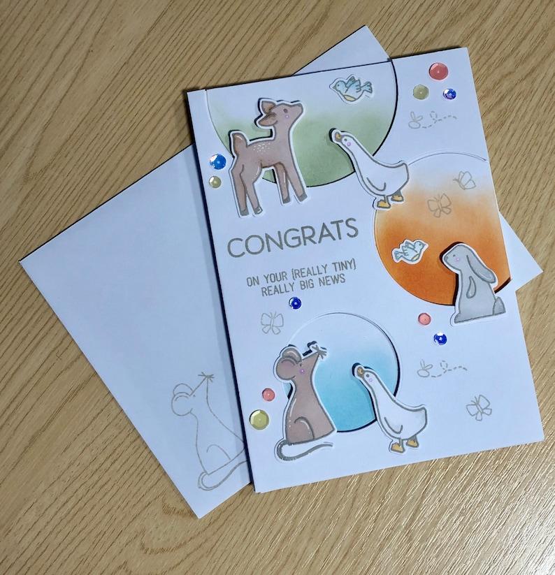 Handmade Congratulations New Baby Card Neutral Boy or Girl Woodland Animals