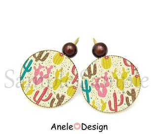 Earrings Cactus pink green yellow - tropical summer spring