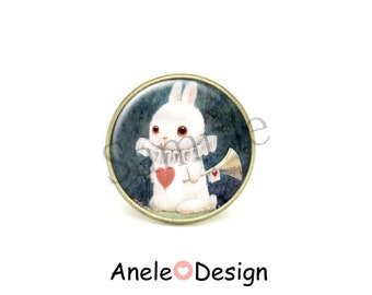 Ring - Rabbit white Alice in Wonderland cabochon
