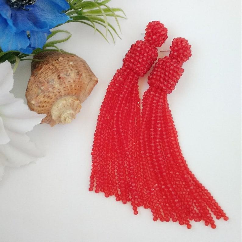 Red rhinestone earrings Oscar de La Renta earrings Dangling boho earrings Long tassel luxe crystal Statement earrings Beadwork Jewelry