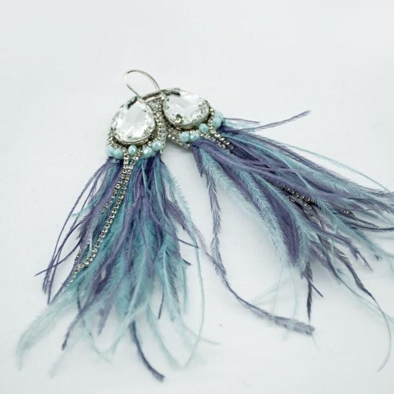 Blue Purple tassel ostrich feather earrings Long beaded statement earrings Large boho crystal earrings Bridal cluster earrings