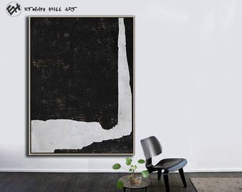 Large Wall Art Canvas Art Abstract, Modern Art Canvas Painting Minimalist Black and White  - Ethan Hill Art No.H126V