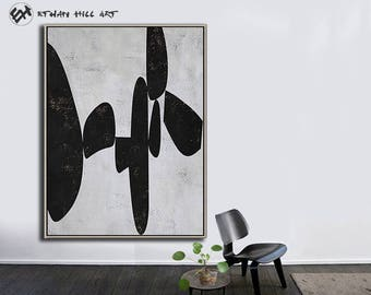 Large Wall Art Canvas Art Abstract, Modern Art Canvas Painting Minimalist Black and White  - Ethan Hill Art No.H129V