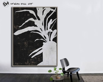 Large Wall Art Canvas Art Abstract Flowers, Modern Art Canvas Painting Minimalist Black and White  - Ethan Hill Art No.H140V