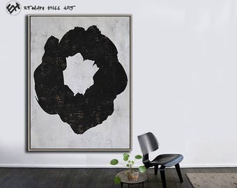 Large Wall Art Canvas Art Abstract Flowers, Modern Art Canvas Painting Minimalist Black and White  - Ethan Hill Art No.H135V