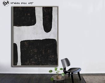 Large Wall Art Canvas Art Abstract, Modern Art Canvas Painting Minimalist Black and White  - Ethan Hill Art No.H123V