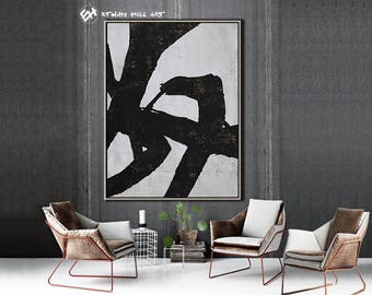 Large Wall Art Canvas Art Abstract, Modern Art Canvas Painting Minimalist Black and White  - Ethan Hill Art No.H142V