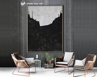 Original Painting Black White Abstract Painting, Large Wall Art Contemporary Art, Vertical Canvas Art - Ethan Hill Art No.H72V