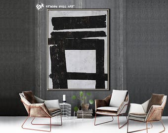 Original Painting Black White Abstract Painting, Large Wall Art Contemporary Art, Vertical Canvas Art - Ethan Hill Art No.H89V