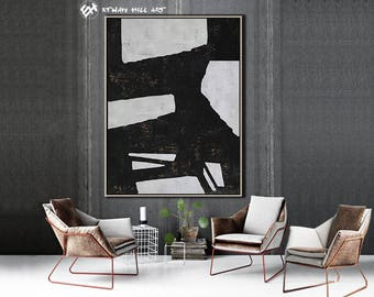 Original Painting Black White Abstract Painting, Large Wall Art Contemporary Art, Vertical Canvas Art - Ethan Hill Art No.H70V