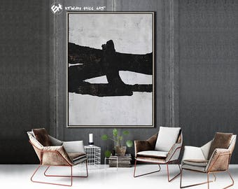 Original Painting Black White Abstract Painting, Large Wall Art Contemporary Art, Vertical Canvas Art - Ethan Hill Art No.H88V