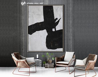 Original Painting Black White Abstract Painting, Large Wall Art Contemporary Art, Vertical Canvas Art - Ethan Hill Art No.H80V