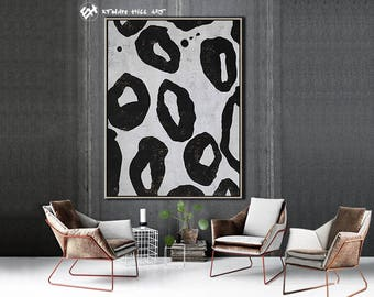Original Painting Black White Abstract Painting, Large Wall Art Contemporary Art, Vertical Canvas Art - Ethan Hill Art No.H86V