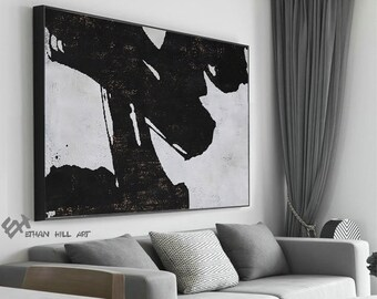 Original Abstract Art Canvas Painting, Large Canvas Wall Art Decor, Bedroom  Wall Decor, Black White Painting   Ethan Hill Art No.H248H