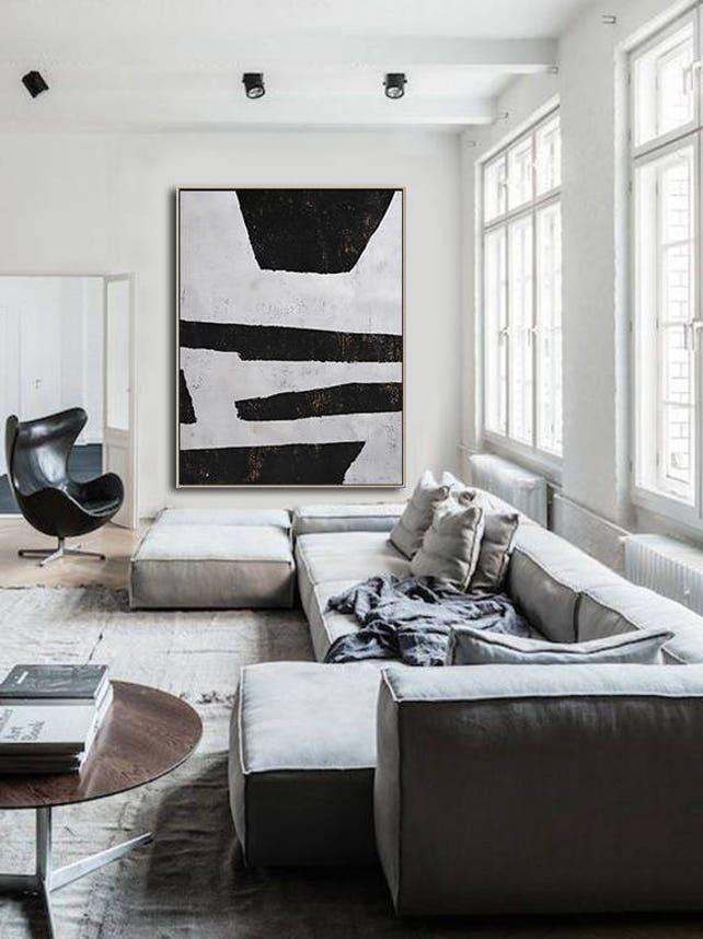 Große minimalistischen Malerei auf Leinwand vertikale | Etsy