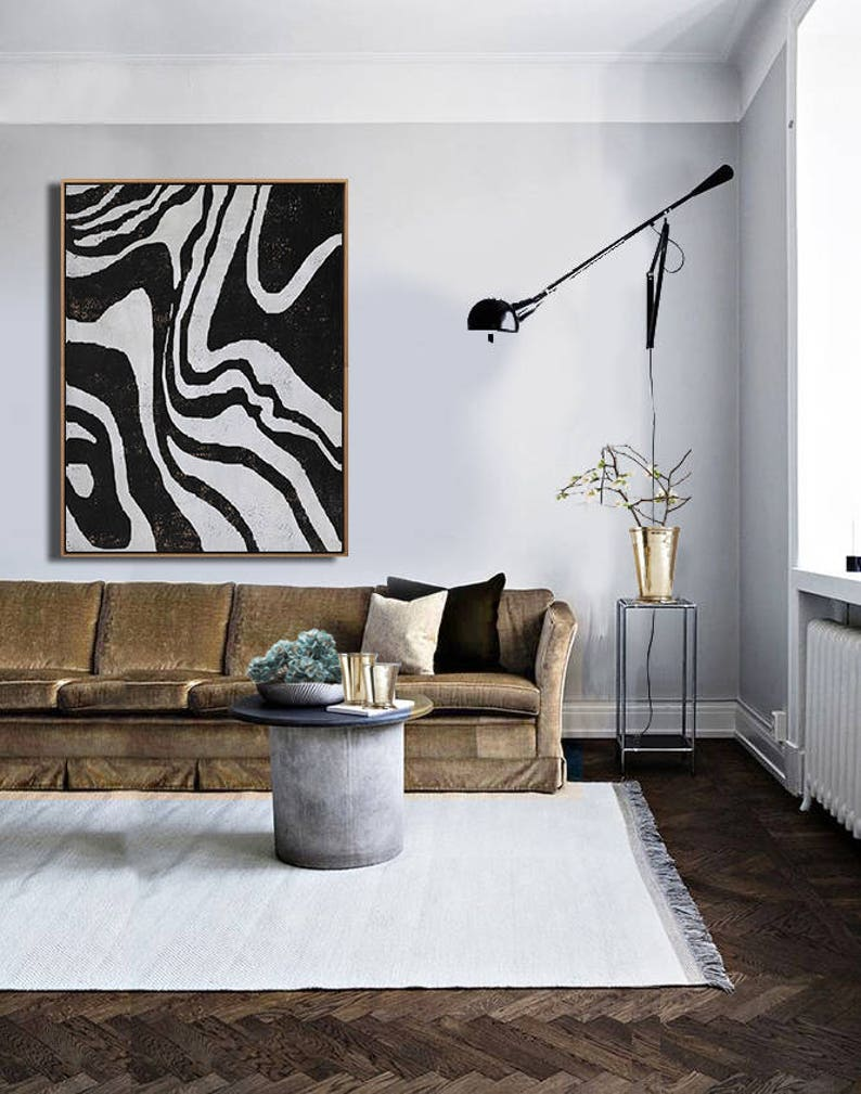 Mid century modern art living room art decor large wall art black white brown ethan hill art no h149v