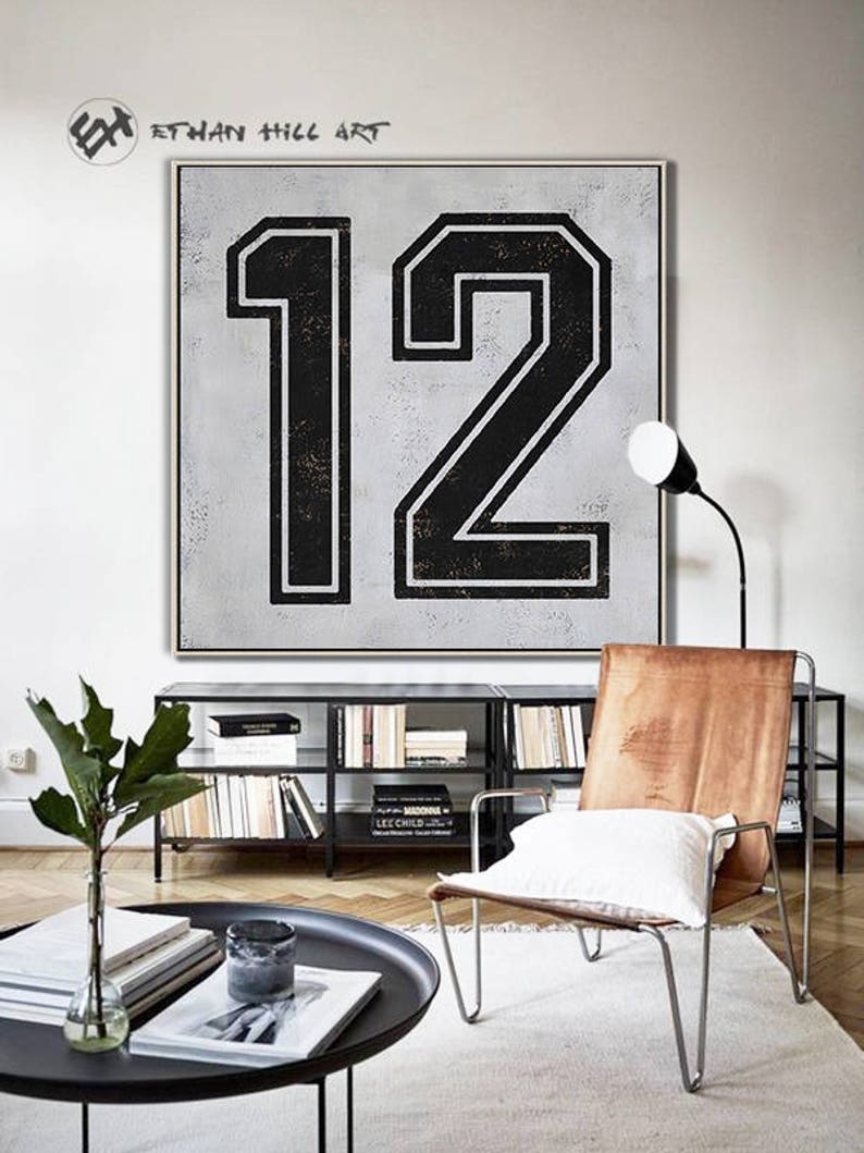 Black and White favorite numbers, Lucky number 12 Painting Large Canvas  Art, hand painted Large Wall Art  FREE shipping -Ethan Hill Art #Z14