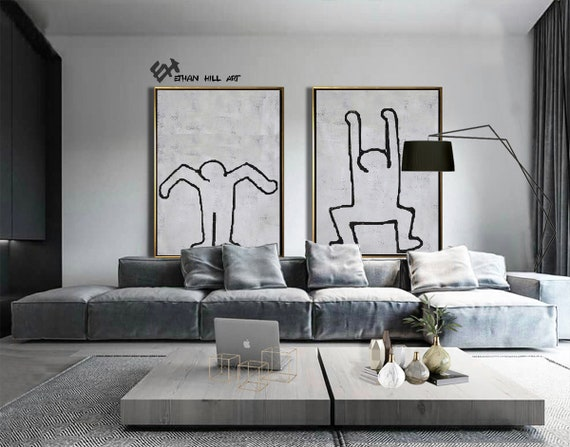 Oversized Modern Wall Art, Set of 2 Paintings on Canvas, Keith Haring  Inspired, Abstract Canvas Art Set of 2 - Ethan Hill Art No.P82