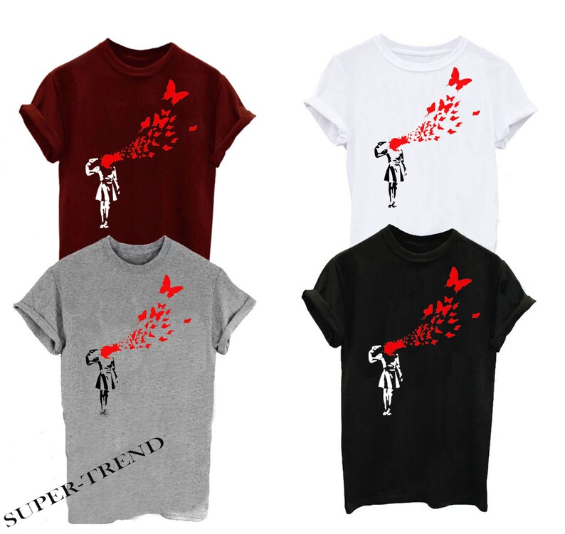 BANKSY GUN BUTTERFLIY print t-shirt unisex 4 colors design from 100 /% cotton