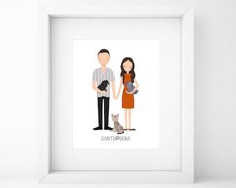 Custom Family Portrait, Custom Couple Portrait, Anniversary Gift, Valentines Day Gift, Wedding Gift, Engagement Gift, Birthday Gift, Xmas