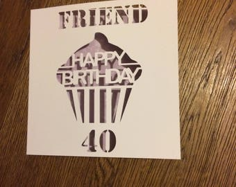 Personalised birthday card, papercut, cupcake card, milestone, 18, 21, 30, 40, 50, 60, special birthday