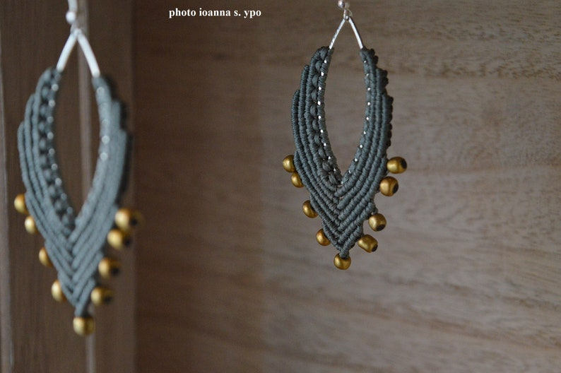 Industrial Gray Macrame Marquise Big Silver Hoops Earrings with Matte Gold Seed Beads Boho Secretary Bijoux