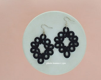 Minimal Black Lace Earrings Tatting Classic Round Moroccan Filigree 50th Birthday Gift for Sister in Law