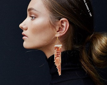 Dark Abstract Beaded Assymetric Fringe Earring Gold Triangle with Miyuki Seed Beads Lined Shell Burgundy Metallic Pink White Light Peach
