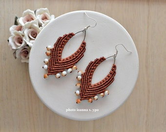 Silver Marquise Earrings Long Brown Micro Macrame Earrings with Gold Glass Beads Autumn Large Dangle Boho Accessories for Yoga Teacher
