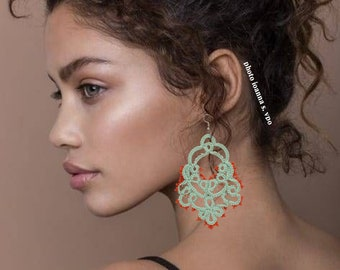 Oversized Light Mint Green Lace Chandelier Earrings with Coral Red Seed Beads Autumn Wide Tatting Earrings Exclusive Large Pendientes