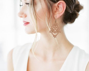 Pale Salmon Pink Triangle Tatting Earrings Wide Lace Drop for Spring Collection Eccentric Delicate Dangle 21st Birthday Gift for Daughter