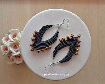 Long Macrame Black Earrings Big Open Silver Marquise with Dark Bronze Glass Beads Christmas Day Gift for her Large Glamorous Accessories