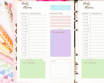 Daily Planner Printable + Fillable Page | Hourly Daily Planner Printable