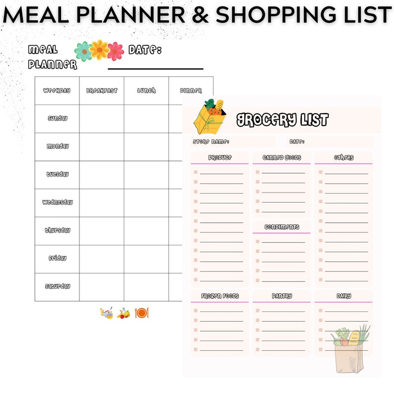 Weekly Meal Planner Printable Template Accompanied By A Grocery List Template