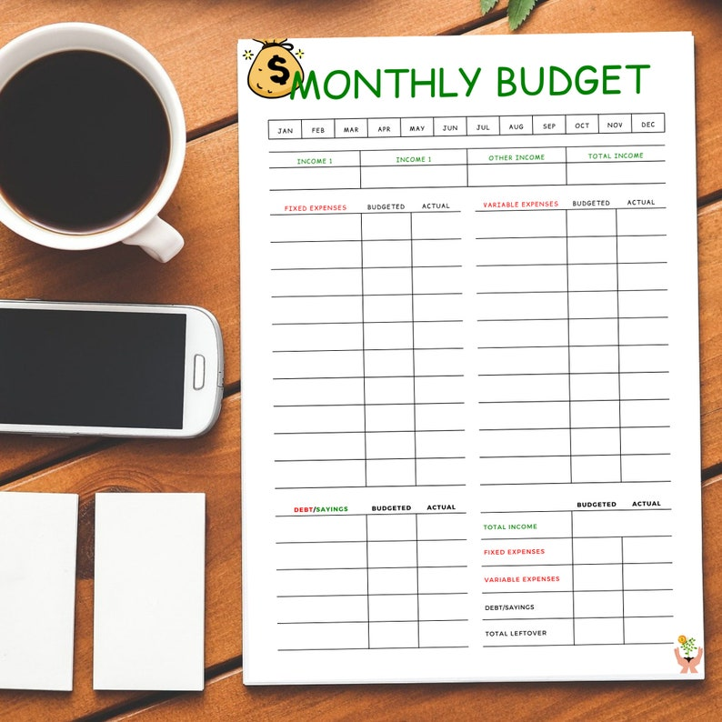 Monthly Budget Template Printable|Budget Planner Page {Instant Download}|Budget Tracker