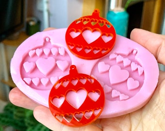Cute Christmas Bauble Earrings Silicone Mould, resin gypsum craft candle soap making