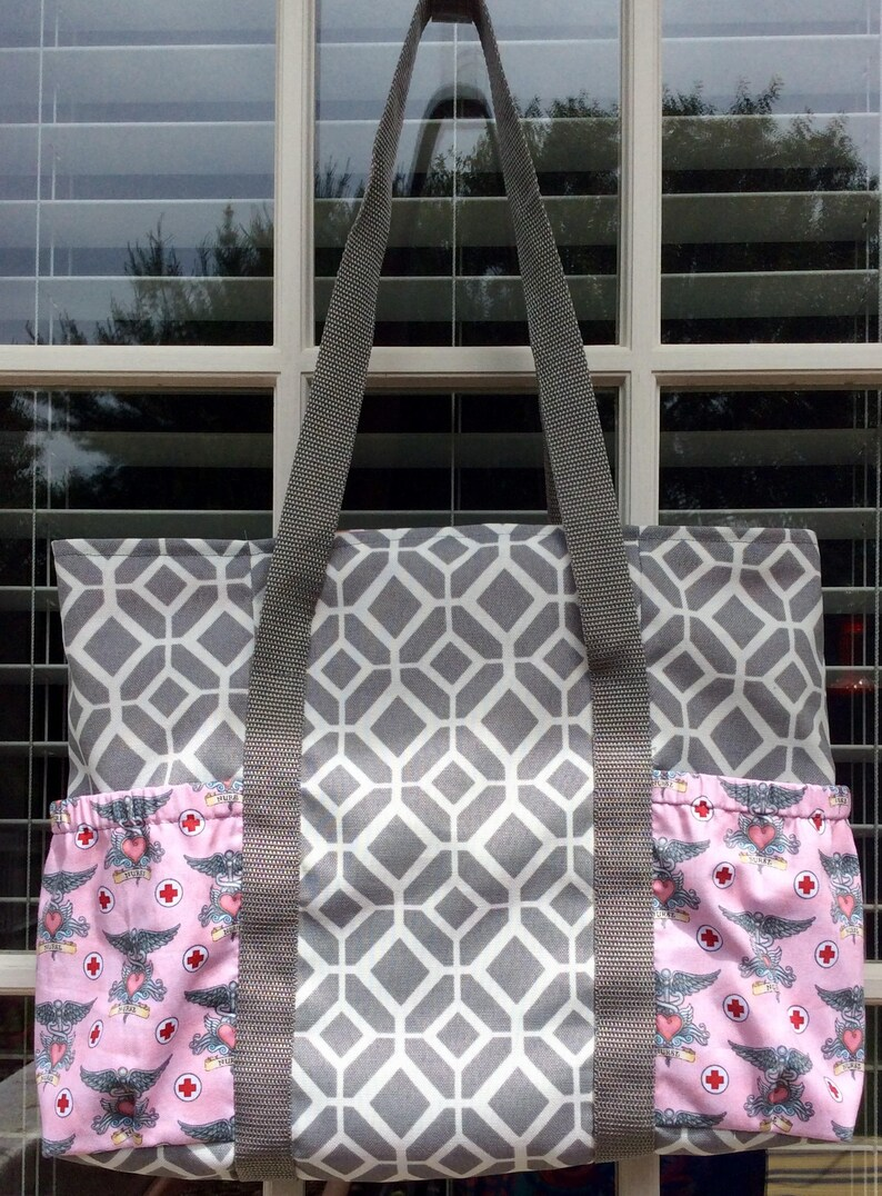 Nurse Tote gray and pink