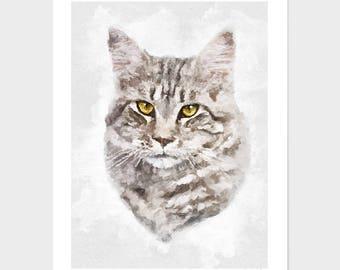5336f9733149 Custom cat portrait, digital pet portrait, pet portrait, watercolor cat  portraits.
