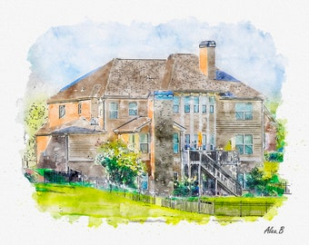 Custom Watercolor House Portrait, Home Painting from photo, House Illustration, Real Estate Gift, Digital Watercolor Home Portrait