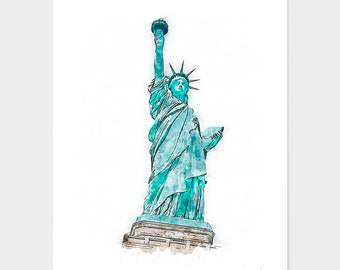 Statue of Liberty Print, Monument Poster, Art Print, Wall Art, Watercolor Painted Monument