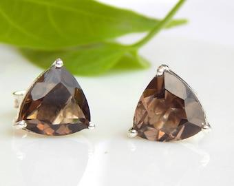 Smoky Quartz Geometric Studs Earrings, Smoky Qaurtz Natural Gemstone Earrings, smoky earrings stud earrings, 925 sterling silver