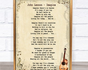 John Lennon Imagine Song Lyric Vintage Quote Print