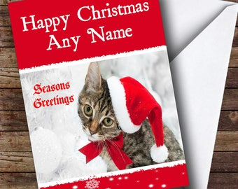 Cat christmas cards etsy tabby cat christmas card personalised m4hsunfo
