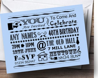 Pale blue invite etsy cool vintage fun chalk typography pale blue personalised birthday invitations solutioingenieria Choice Image