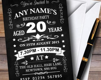 20th birthday invitations etsy vintage chalkboard style black and white 20th birthday party personalised invitations filmwisefo
