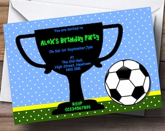 Trophy invitation etsy football and trophy personalised birthday party invitations stopboris Choice Image