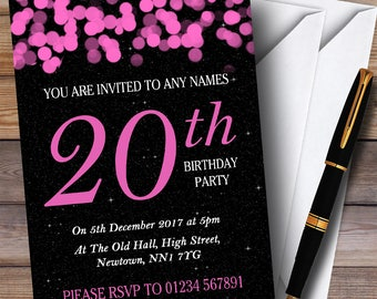 20th birthday invitations etsy pink bokeh stars 20th personalised birthday party invitations filmwisefo