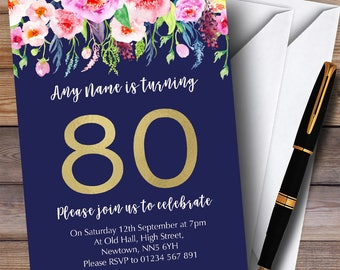 80th birthday invitations etsy blue pink watercolour flowers 80th personalised birthday party invitations filmwisefo